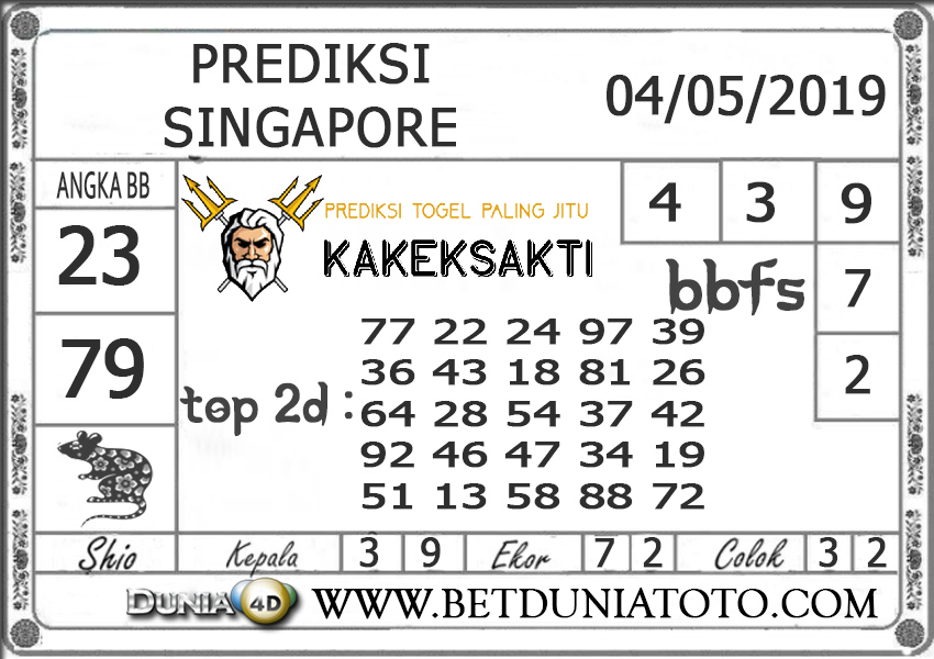 Prediksi Togel SINGAPORE DUNIA4D 04 MEI 20191