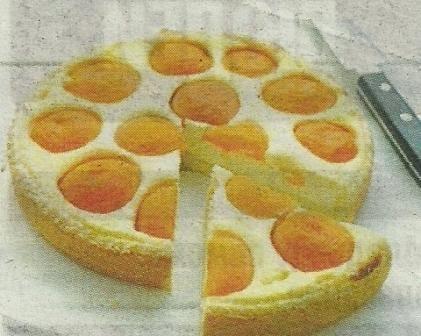 Состав продуктов и способ приготовления творожного пирога с абрикосами
