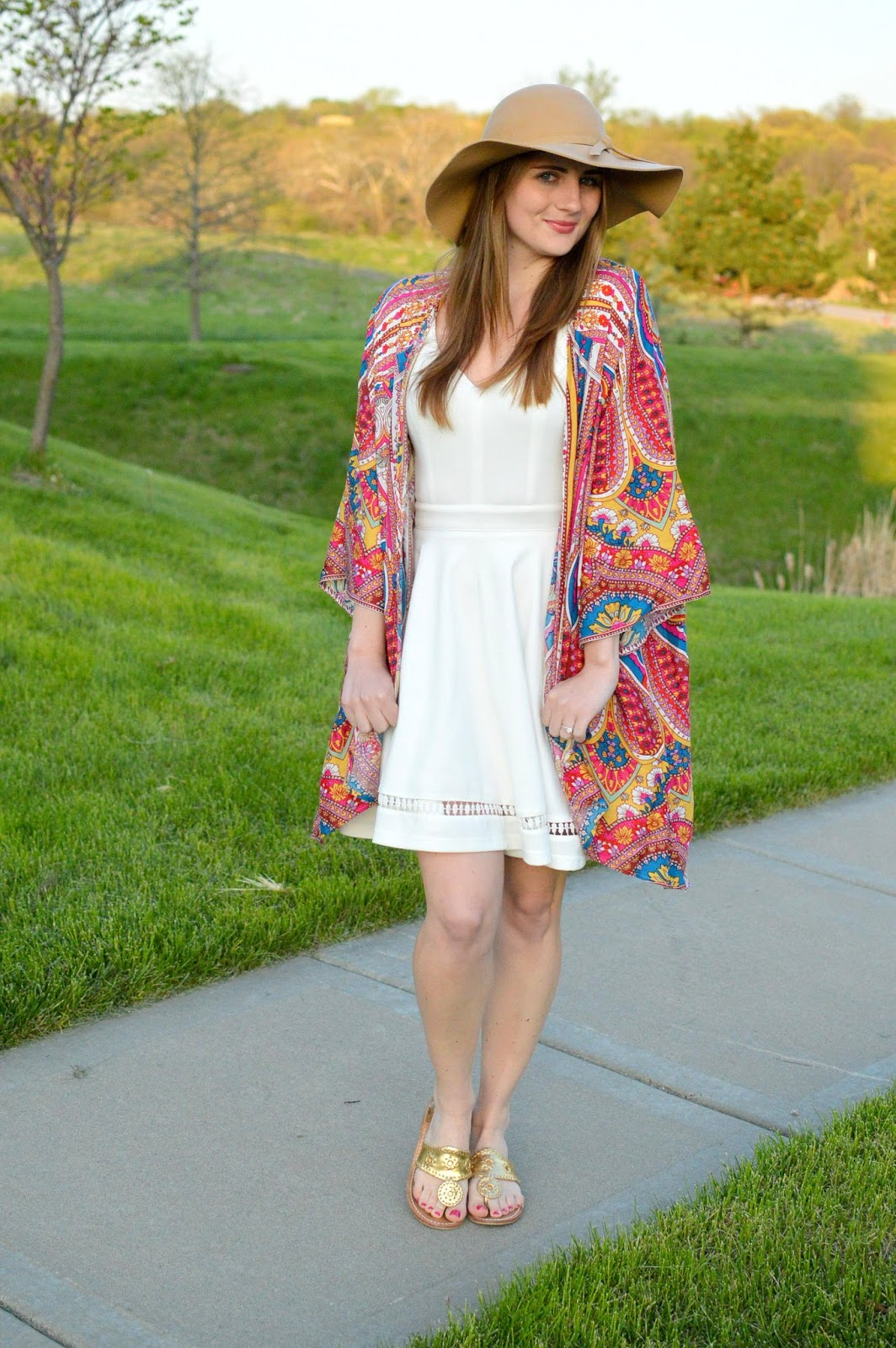 bright kimono with a white dress