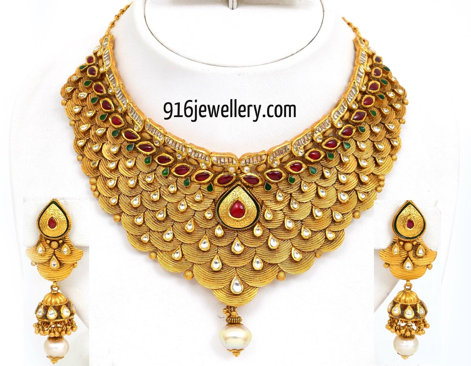 Antique Necklace Haram Designs Sudhakar Gold Works