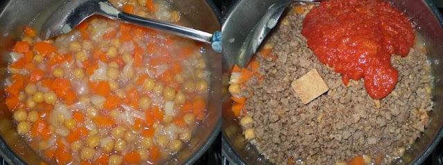 Receita de grão de bico com carne moída