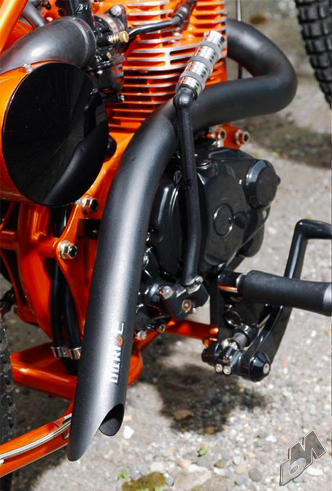 honda cb100 chopper - exhaust detail | dariztdesign