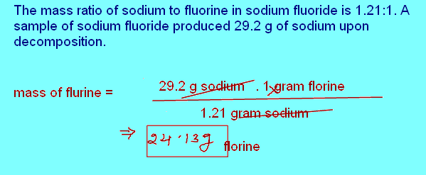 Free Online Help: The mass ratio of sodium to fluorine in sodium ...