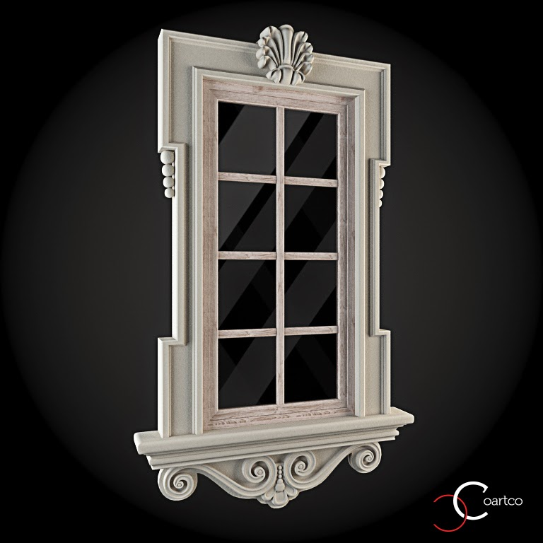 Ornamente Geamuri Exterior, fatade case cu profile decorative polistiren, profile fatada,  Model Cod: WIN-016