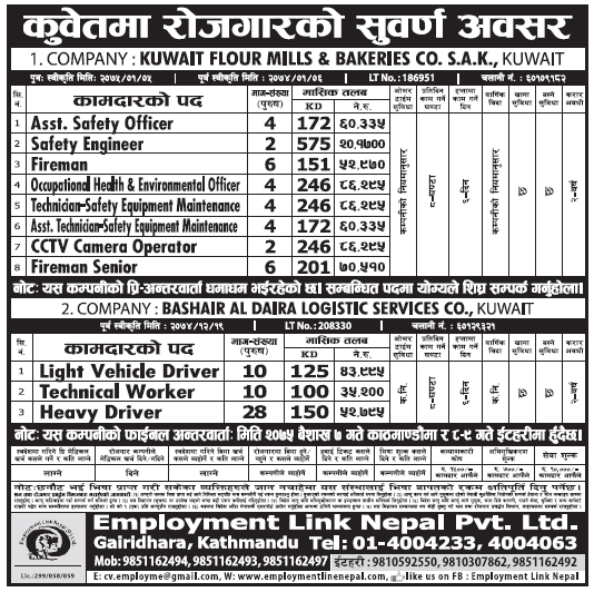 Jobs in Kuwait for Nepali, Salary Rs 2,01,700
