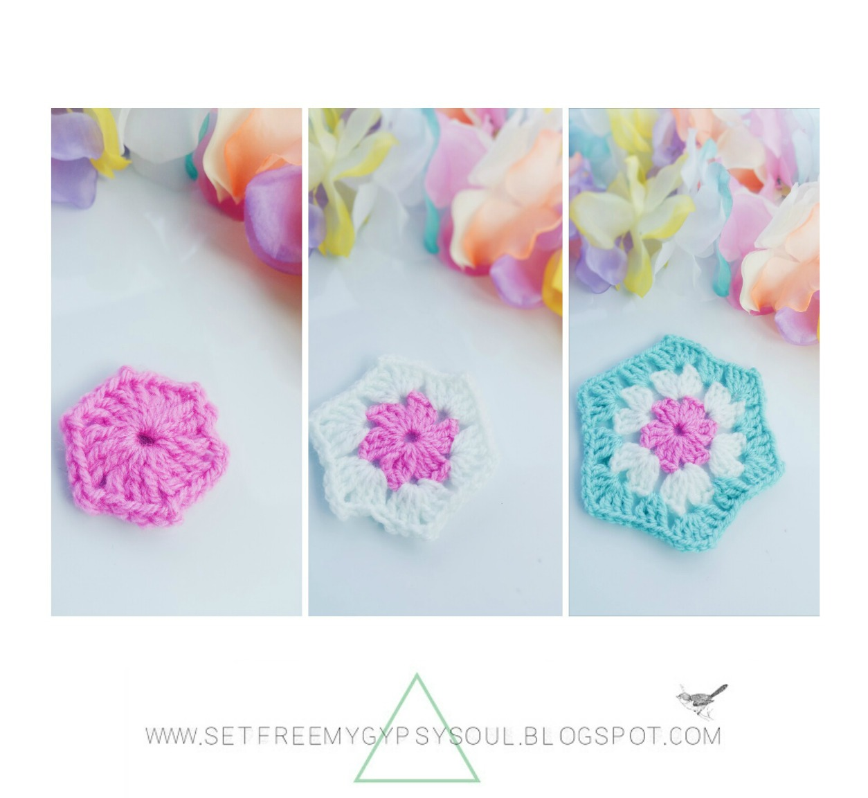 free crochet pattern how to granny hexagon boho gypsy soul wall art