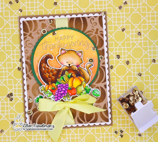 Thanksgiving cat card by Ellen Haxelmans | Newton's Cornucopia Stamp Set and Pumpkin Patch Stencil by Newton's Nook Designs #newtonsnook #handmade