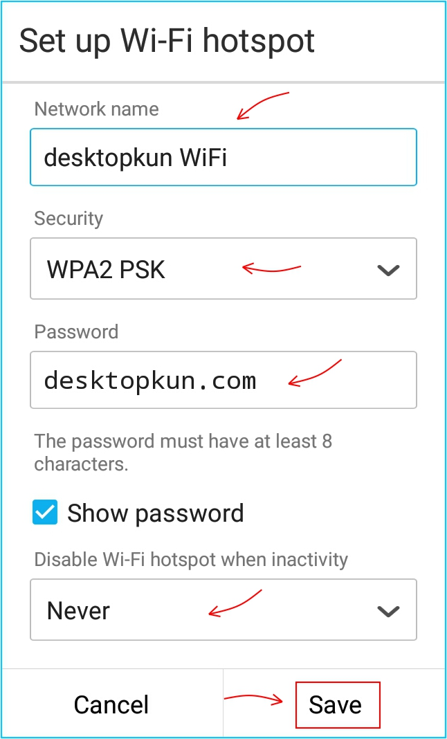Sharing internet - halaman pengaturan wifi