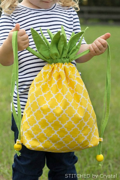 Tutorial to make a pineapple drawstring bag