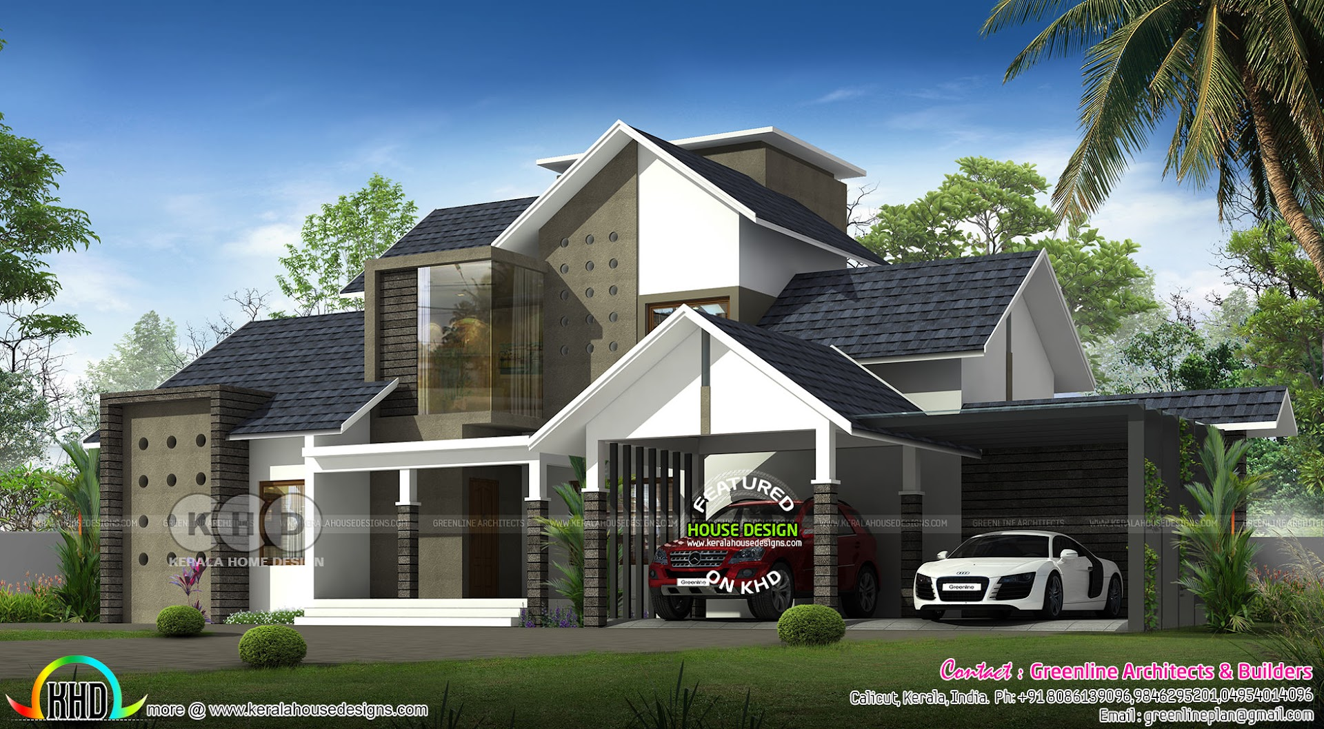 4 Bedroom Ultra Modern Sloping Roof Home Design Kerala Home Design And Floor Plans 8000 Houses