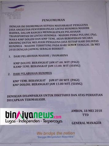 H-18 Lebaran, PT ASDP Sediakan 2 buah Fery Layani Penumpang Masohi - Hunimua