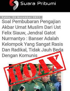 TNI akan buru situs hoax yang benturkan Panglima dengan Banser