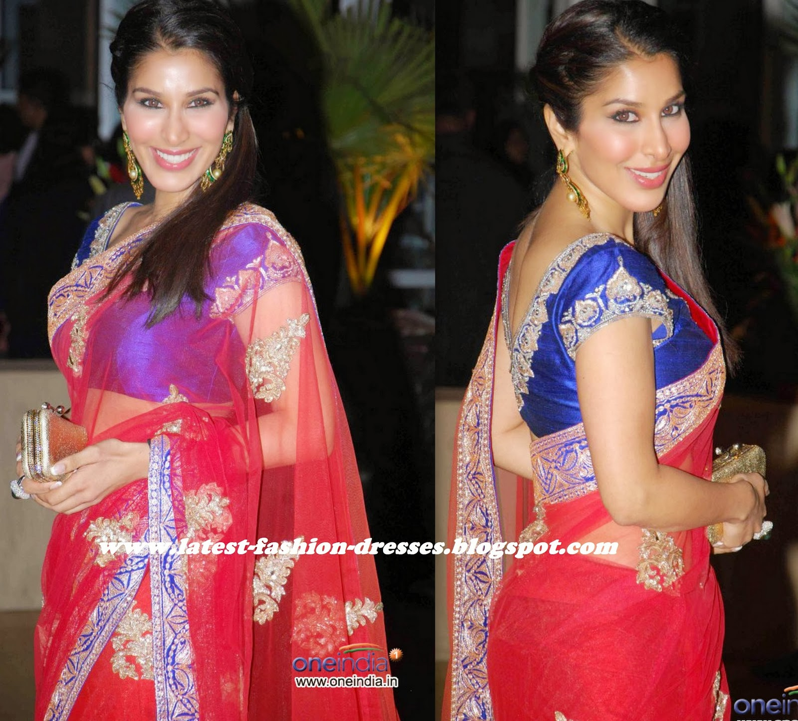 bollywood actress Red netted saree