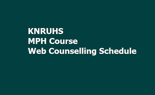 KNRUHS MPH Course Merit list, Web Counselling Schedule for Certificates Verification 2019