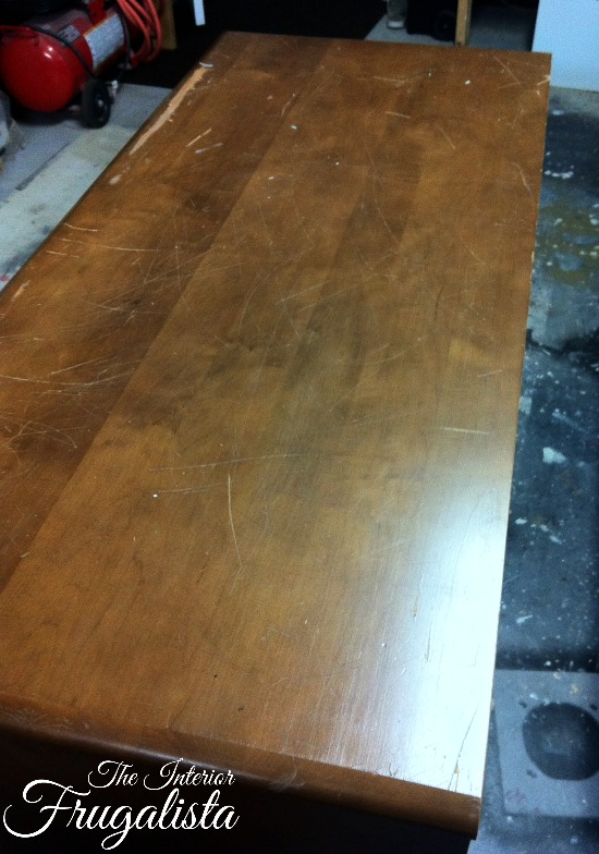 Vintage Executive Wooden Desk Top Before Makeover