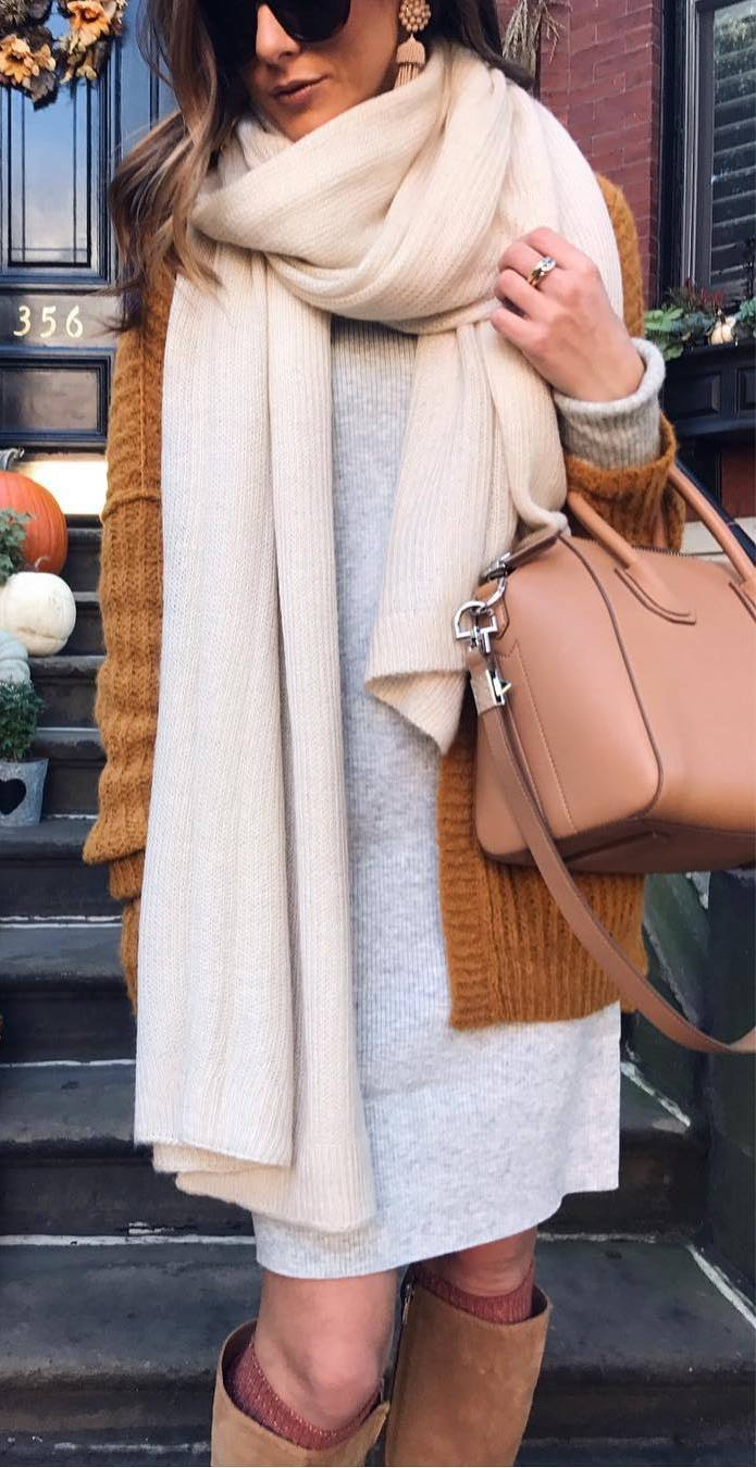 what to wear with a knit scarf : bag + knit cardi + grey sweaterdress + high boots
