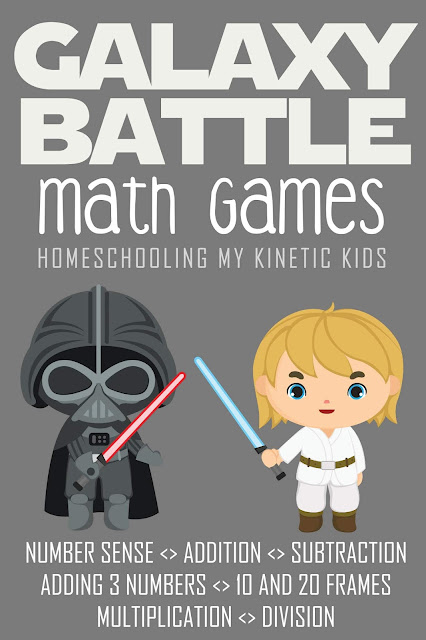 Galaxy Battle Math in a Tin // Homeschooling My Kinetic Kids // Star Wars fans will love this adorable set of basic math activities that fit in an Altoid tin.  Parents will love how easy they are to assemble.  Students can practice addition, subtraction, multiplication, division, number sense, and addition with several numbers.  Free printables for math in many themes.  May the Fourth be with you!