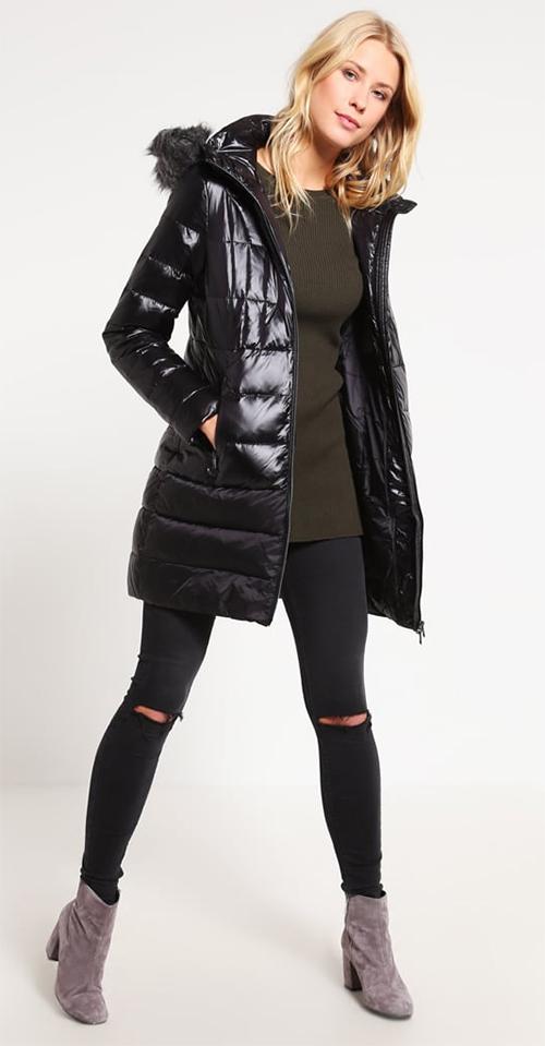 Doudoune femme capuche fourrure mi-longue noire Calvin Klein Jeans