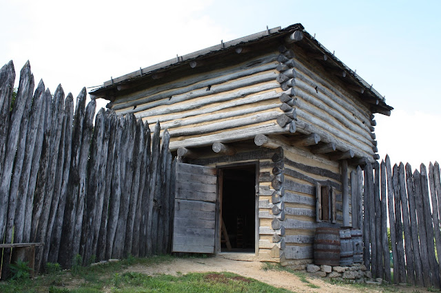 The Apple River Fort reconstruction in Elizabeth, IL was constructed using the same materials and tools pioneers would have used.