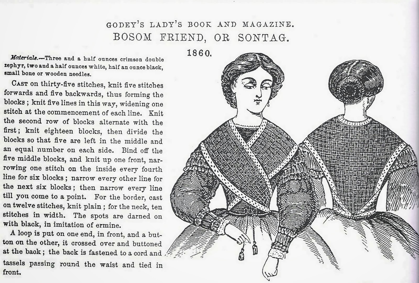 In the Swan's Shadow: Godey's sontag knitting instructions