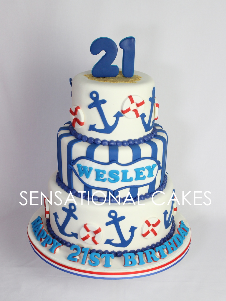 Swell The Sensational Cakes 21St Birthday Cake Nautical Theme Anchor Funny Birthday Cards Online Alyptdamsfinfo