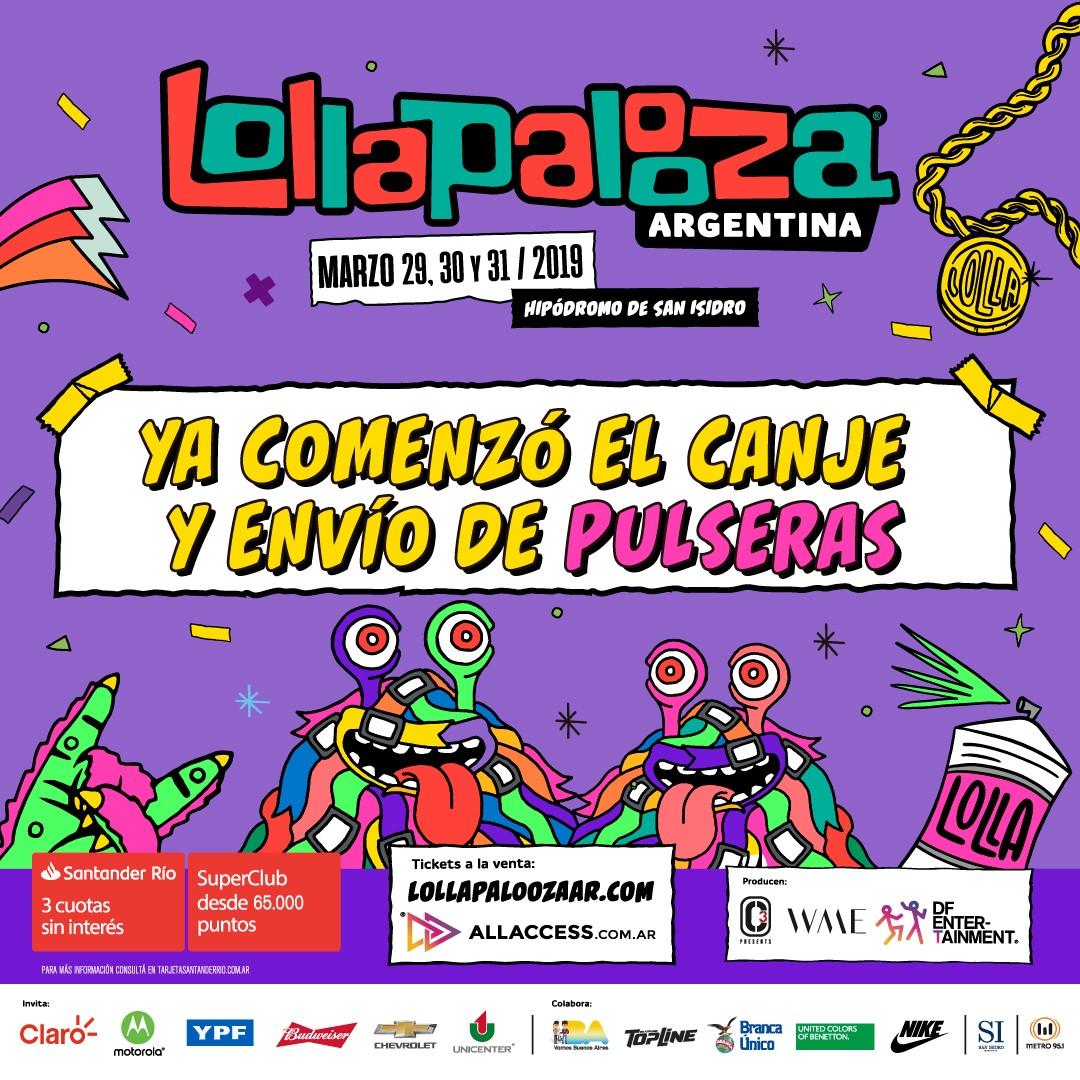 c12e37184a34 Lollapalooza Argentina confirma el comienzo del canje y envío de pulseras  para la sexta edición del festival a realizarse el viernes 29
