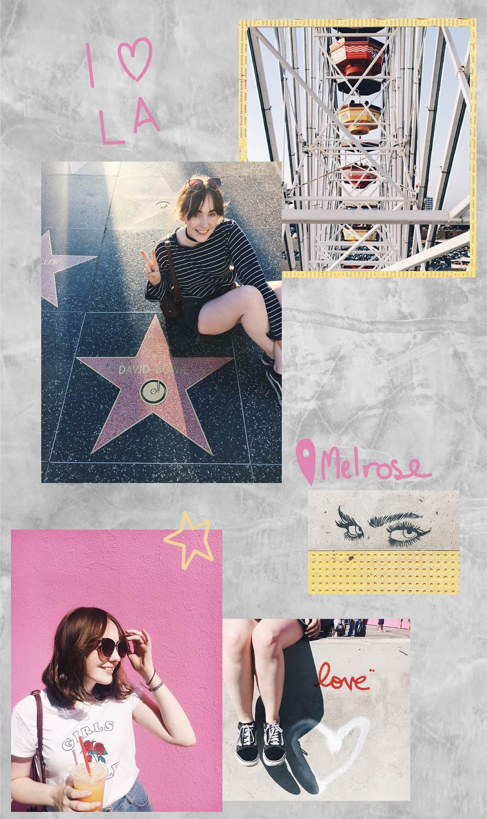 first impressions of Los Angeles by travel blogger Allie Davies, ft. Santa Monica Ferris wheel, David bowie walk of fame, LA street art, Paul smith pink wall on melrose
