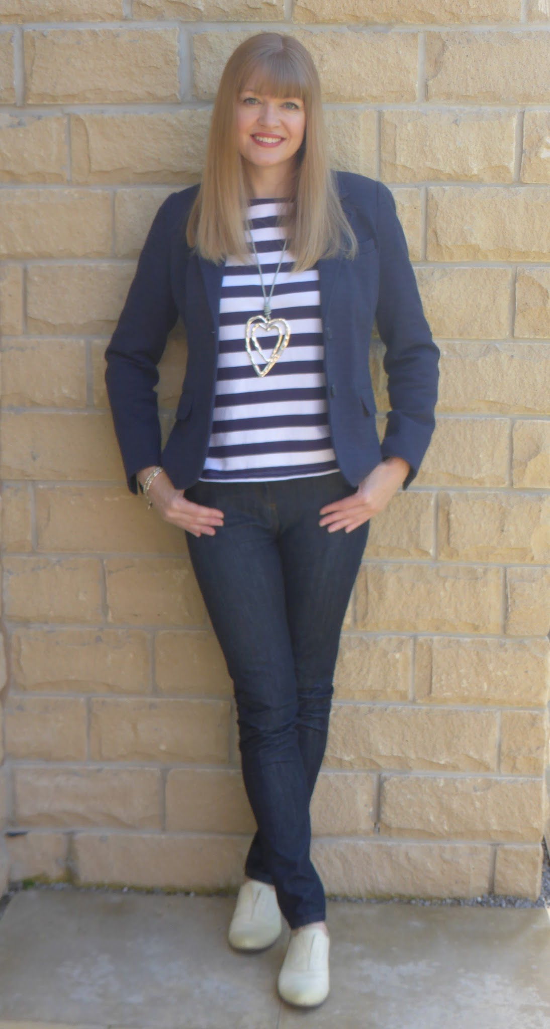Over 40 blogger What Lizzy loves wearing Jack Wills breton top, Boden skinny jeans, Clarks yellow brogues and Joules navy tweed jersey blazer