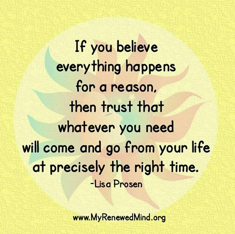 If You Believe Everything Happens For A Reason Then Trust That