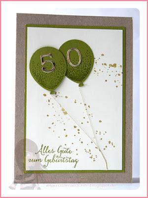 Stampin' Up! rosa Mädchen Kulmbach: Geburtstagskarte mit Partyballons und Wink of Stella