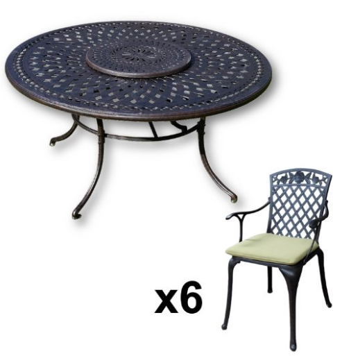 Lazy Susan Furniture - Frances 150 cm Round 6 Seater Cast Aluminium Garden Set