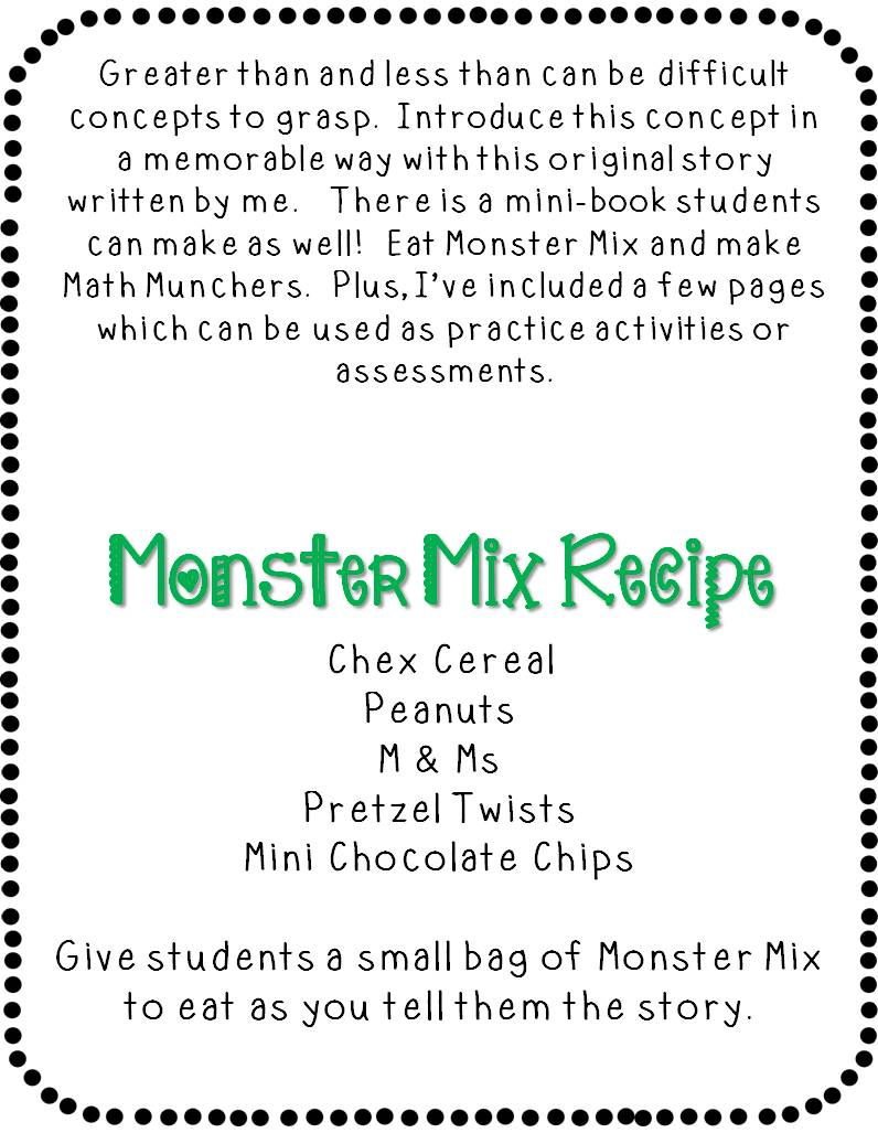 Greater than less than with max the math monster just reed character posters a mini book summarizing maxs story a monster mix recipe with bag toppers a math muncher craft with tracer patterns publicscrutiny Gallery