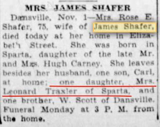 1929 obituary of Rose Shafer, wife of James Shafer, Dansville, NY
