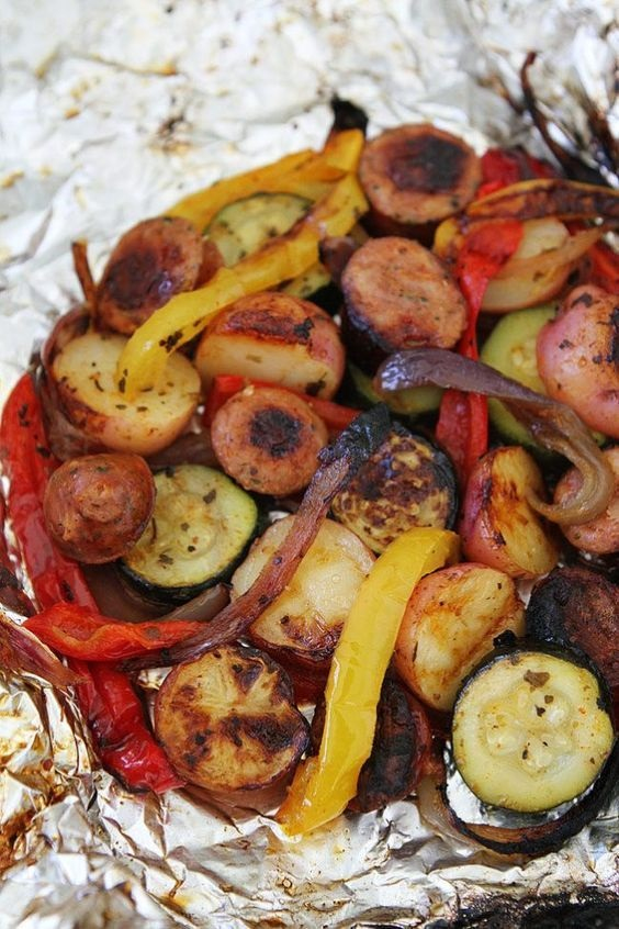 Grilled Sausage And Vegetable Foil Packets
