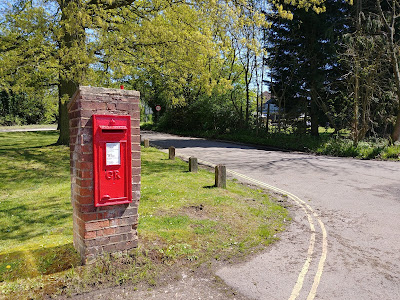 Photograph of Wall box GR at the top of Bell Lane at junction with the A1000 Great North Road, Bell Bar Image from the North Mymms History Project released under Creative Commons