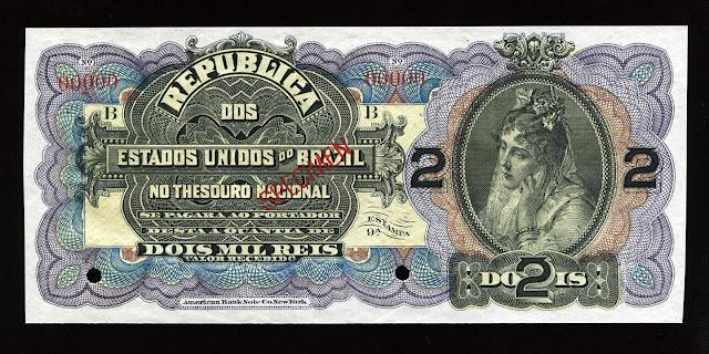 World paper money Brazilian Currency Mil Reis american banknote bill