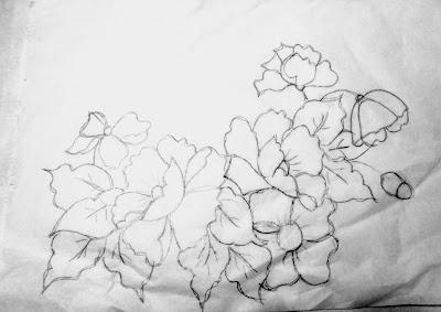 risco para pintar papoulas em tecido