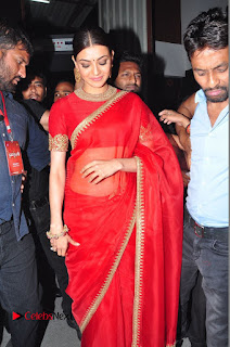 Kajal Aggarwal looks silly in Red Saree at Bramhotsavam Audio Launch