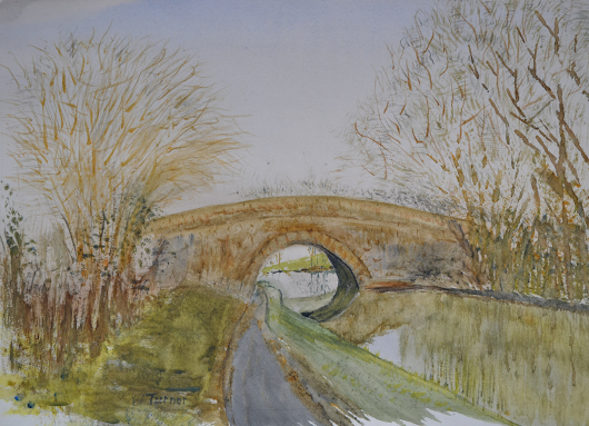 "Thr bridge on the Lancaster canal at Greycourts Hest Bank. painted in watercolour .2016 on15"" x 11"" Fabriano watercolor paper"