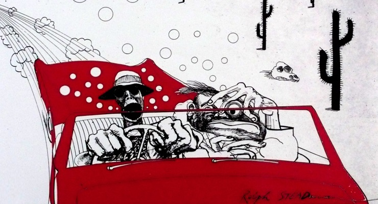 Ralph Steadman cartoon from Fear and Loathing in Las Vegas border=