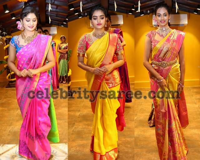 Models in Kanchipattu Sarees by Mugdha Arts