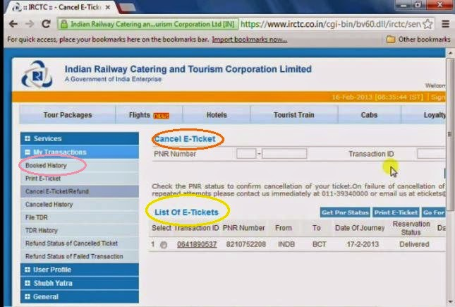 E-Ticket cancellation - IRCTC