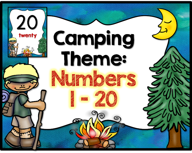 CAMPING THEME, CAMPING NUMBER SIGNS, NUMBERS 1-20
