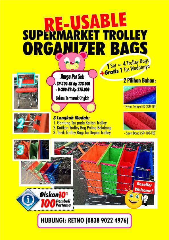 Jual Re-Useable Supermarket Trolley Organizer Bag