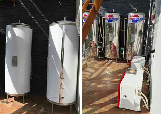 自然風熱泵熱水器多層奈米保護膜,完美藏身於梯間牆角,美觀度大勝。