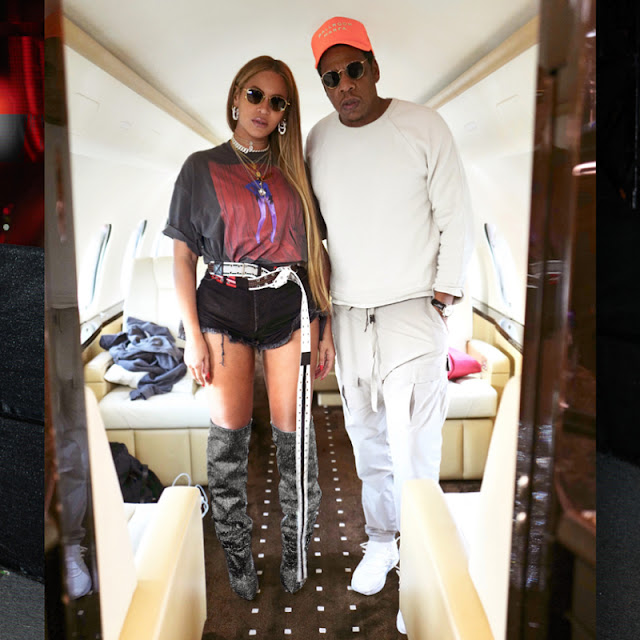 Beyonce flaunts butt cheeks as she poses with Jay-A aboard Jet