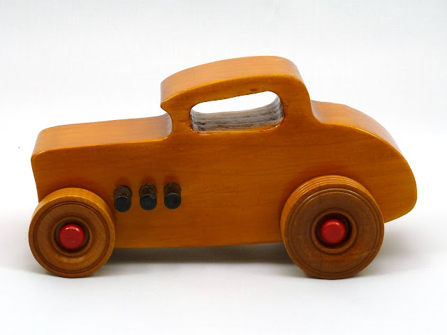 Left Side - Wooden Toy Car - Hot Rod Freaky Ford - 32 Deuce Coupe - Pine - Amber Shellac - Red Hubs