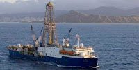 JOIDES Resolution is a scientific drilling ship used by the Integrated Ocean Drilling Program. PETM sediment sections have been recovered during past expeditions of the JOIDES Resolution. [Credit: International Ocean Discovery Program (IODP)] Click to Enlarge.