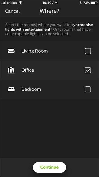 Selezione della stanza dove sincronizzare le luci