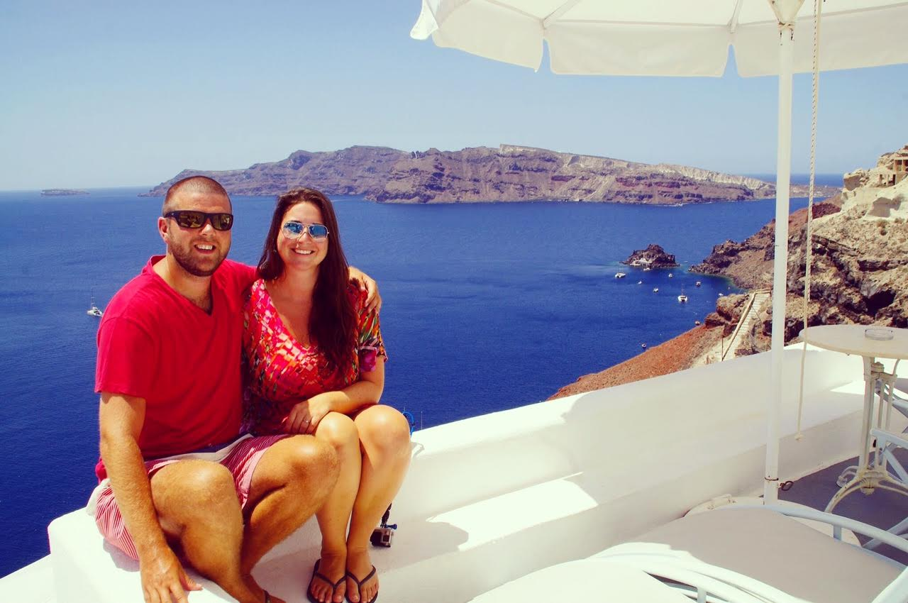 Couple in Oia Santorini Greek Islands